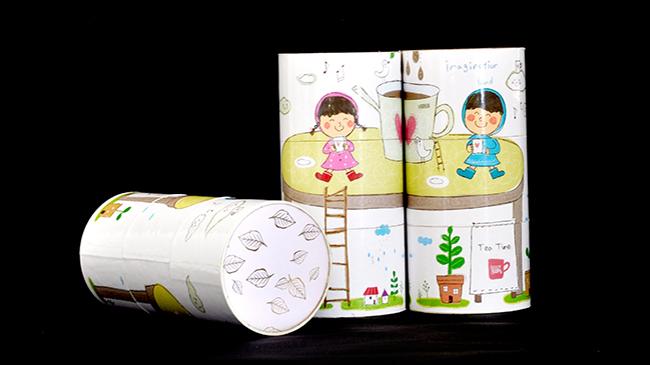 卡通旋转纸罐包装